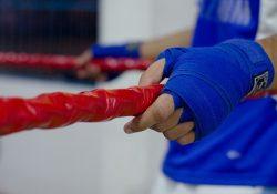 blue hand wraps